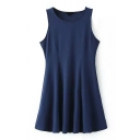 Navy Sleeveless Ruffle Hem Ruffle Hem Tank Dress
