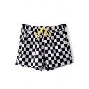 Mono Check Drawstring Loose Shorts