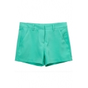 Green Plain Fitted Pockets Zipper Fly Shorts