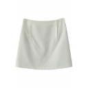 White Plain Zipper Back Pencil Mini Skirt