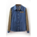 Denim Insert Striped Long Sleeve Shirt