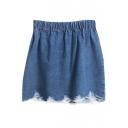 Dark Blue Distressed Hem Denim Bodycon Skirt