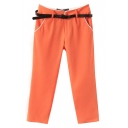 Orange Fitted Harem Casual Crop Pants