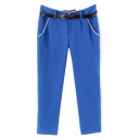 Blue Fitted Harem Casual Crop Pants