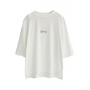White 1/2 Sleeve Smile Print Loose T-Shirt