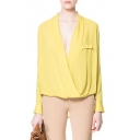 Yellow Twist-Front Long Sleeve High Low Hem Blouse
