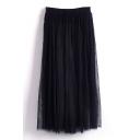 Black Double Mesh Layer A-line Tea Length Skirt