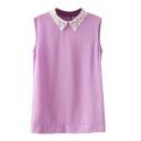 Purple Lace Lapel Sleeveless Button Back Blouse