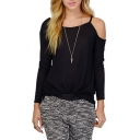 Single Cold Shoulder Long Sleeve T-Shirt