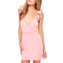 Pink Ruffled Strap Open Back Fitted Dress