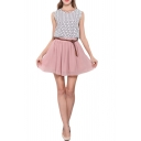 Pink Double Layer Chiffon Pleated Mini Skirt