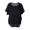 Black Short Sleeve Pocket Front Chiffon Blouse