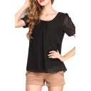 Short Sleeve Pleated Front Chiffon Blouse