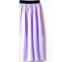 Light Purple Elastic Waist Chiffon Maxi Skirt