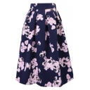 Vintage Floral Print High Waist Pleated Midi Skirt