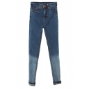 Dark Blue Faded Elastic Stitch Detail Pencil Jeans