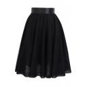 Plain Mesh Elastic Waist Layers A-Line Midi Skirt