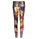 Horrible Cartoon Print Fitted Skinny Leggings