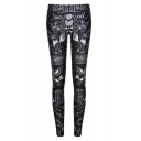 Black Mystery Print Fashionable Fitted Skinny Leggings