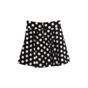 Preppy Style Vintage Polka Dot High Waist Zipper Fly Skirt