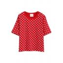 Preppy Style Polka Dot Pattern T-Shirt