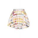 Cute White Emoji Print Elastic Waist Skirt