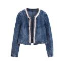 Blue Lace Insert Open Front Long Sleeve Biker Denim Jacket