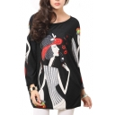 Wearing Hat Lady Print Beaded Long Sleeve Smock Blouse