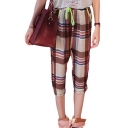 Color Block Plaid Elastic Drawstring  Waist Crop Pants
