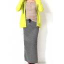 Concise Comfortable Mono Stripes Print Maxi Tube Skirt