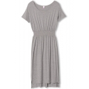 Gray Plain Gathered Waist Round Neck Short Sleeve High Low Hem Dress
