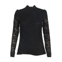 Black Long Sleeve Lace Inserted Top with Zip Back