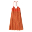 Orange Halter Crochet Strap Camis Dress