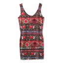 Slim Ethnic Pattern&Flower Print Red Tanks Dress