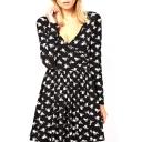 V-Neck Heart&Arrow Print Black A-line Dress