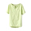 Green Plain V-Neck Short Sleeve High Low Hem Blouse