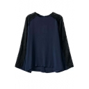 Long Lace Sleeve Dark Blue Back Zip Blouse