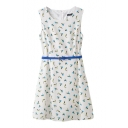 White Sleeveless Birds Print Tanks Dress with Belt