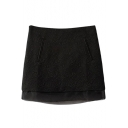 Black Relief Flower Double Layer Hem Mini Skirt