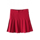 Red Pleated Tennis Style Skirt