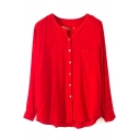 Red Long Sleeve Single-Breast Fitted Blouse