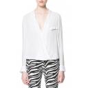 White Wrap Front Fake Pocket Long Sleeve Blouse