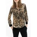 Leopard Print Contrast Cuff Long Sleeve Shirt