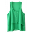 Sleeveless Single-Breast Chiffon Blouse