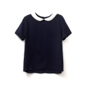 Navy Doll Collar Short Sleeve High Low Hem Blouse