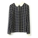 Plaid Print Doll Collar Long Sleeve Chiffon Blouse