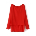 Red Plain High Low Split Hem Beaded Chiffon Blouse