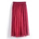 Double Mesh Layer A-line Tea Length Skirt