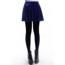 Royal Blue A-line Pleuche Skirt
