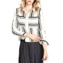 Striped Print Long Sleeve Point Collar Shirt